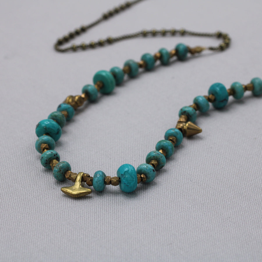 Marisa Mason | Santa Cruz Turquoise & Brass Beaded Necklace