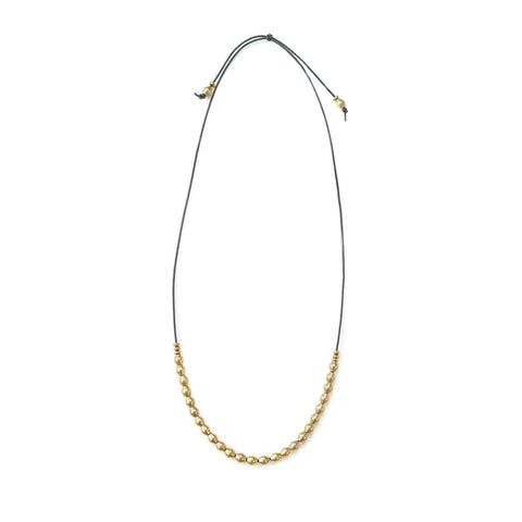 Brass Tapered Drop Oval Necklace
