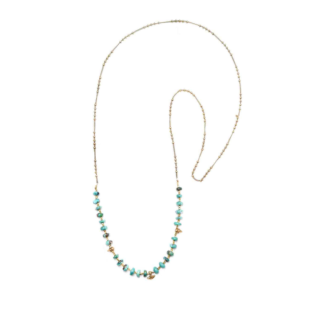 Marisa Mason Santa Cruz Turquoise & Brass Beaded Necklace