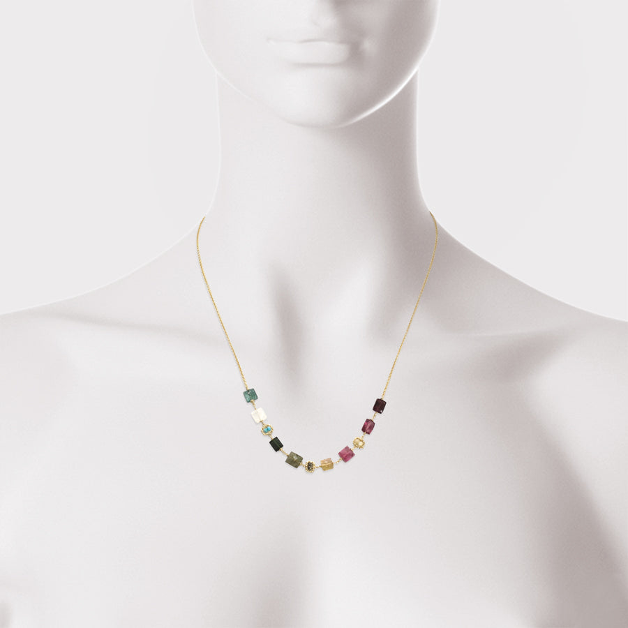 Wire Wrap Rainbow Semi Precious Stone Necklace