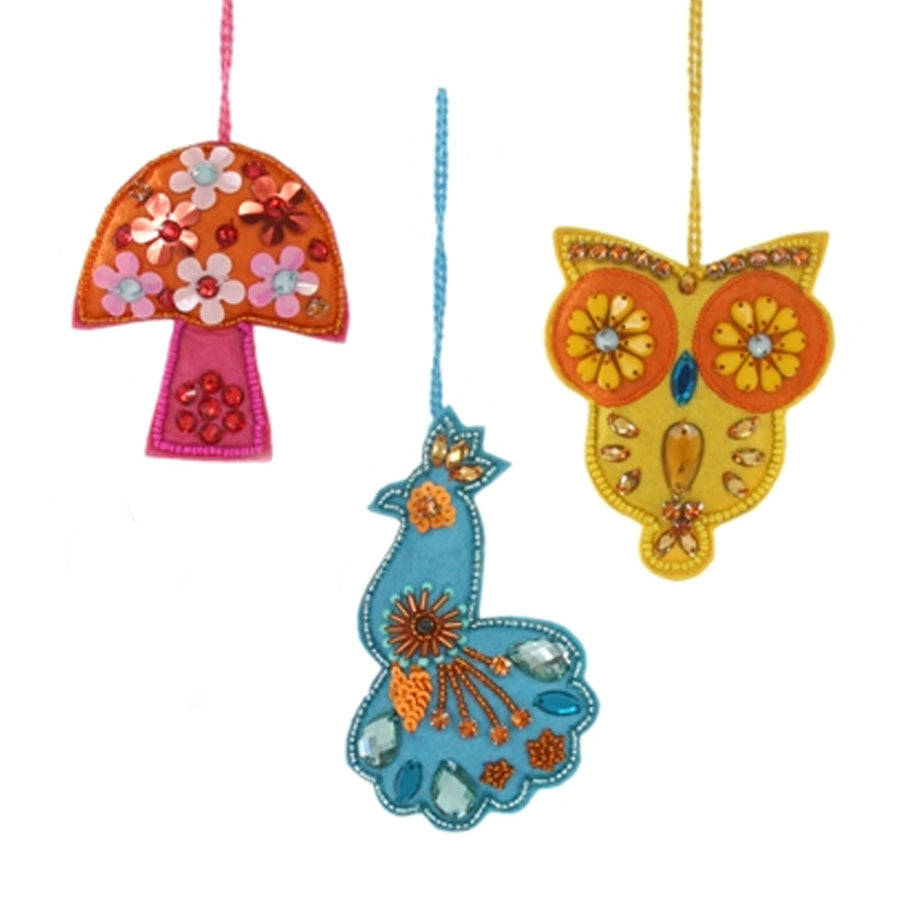 Bejeweled Felted Boho Ornaments | Assorted
