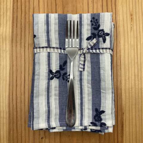 Ige Linen Napkins | Stripe Embroidery Navy