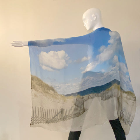 Picturesque Printed Scarf | Beach Scene | Italy