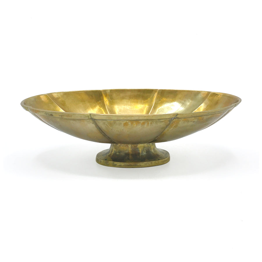 Vintage Brass Scalloped Footed Bowl
