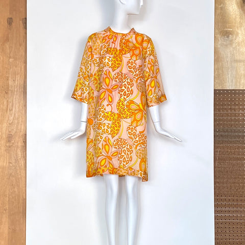 70s Yellow & Orange Floral Print Yoke Shirt