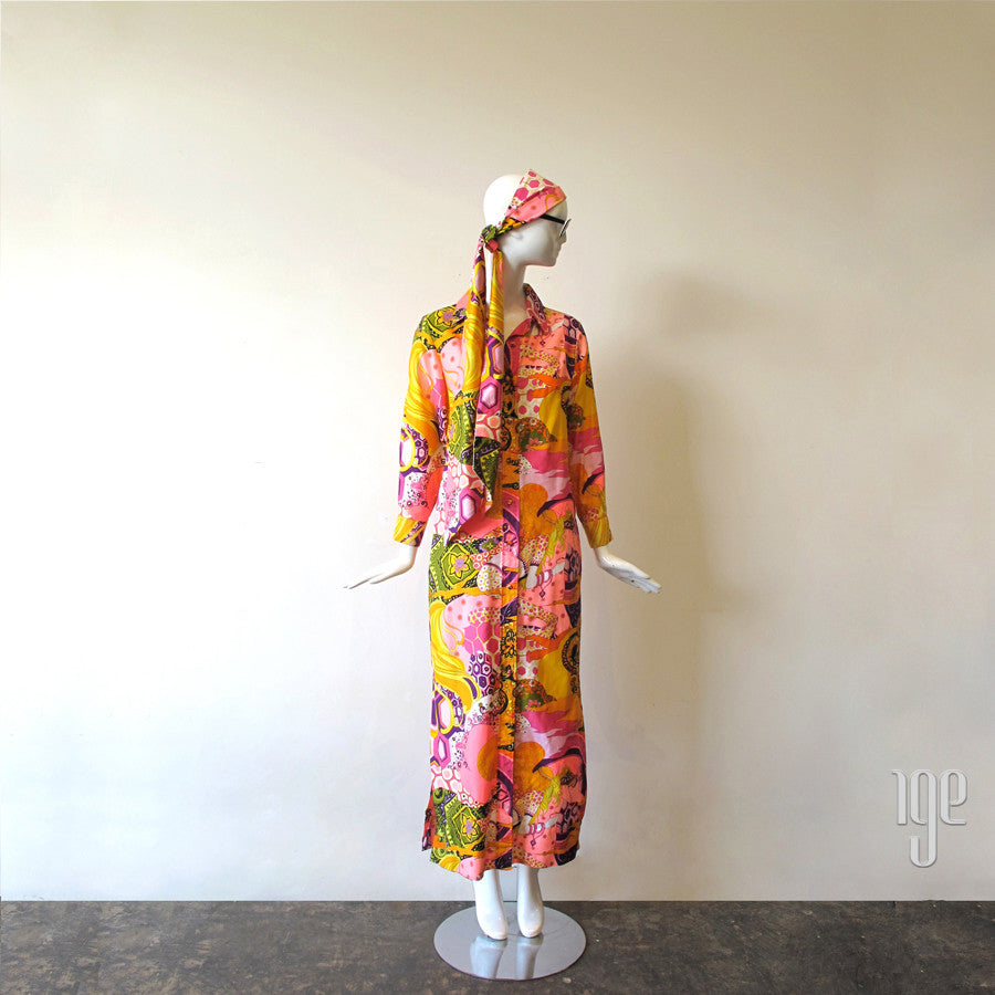 1970's Psychedelic Print Maxi Shirt Dress