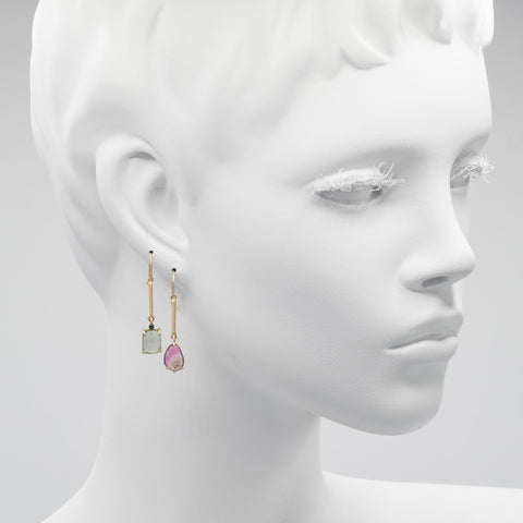 Two Stone Stacked Earrings