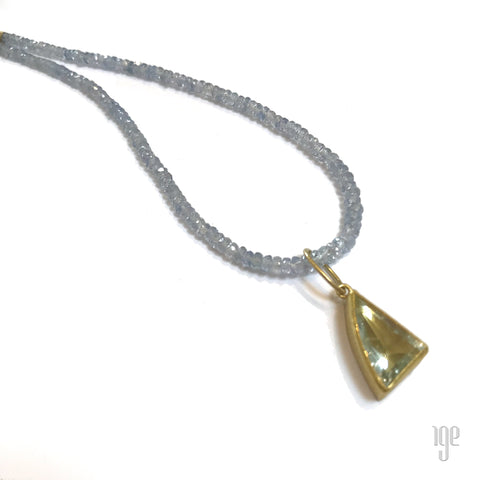 14kt Gold Bezel Set Canary Yellow Tourmaline Necklace