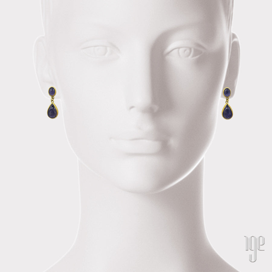 Petra Class Tanzanite Cabochon Drop Earrings