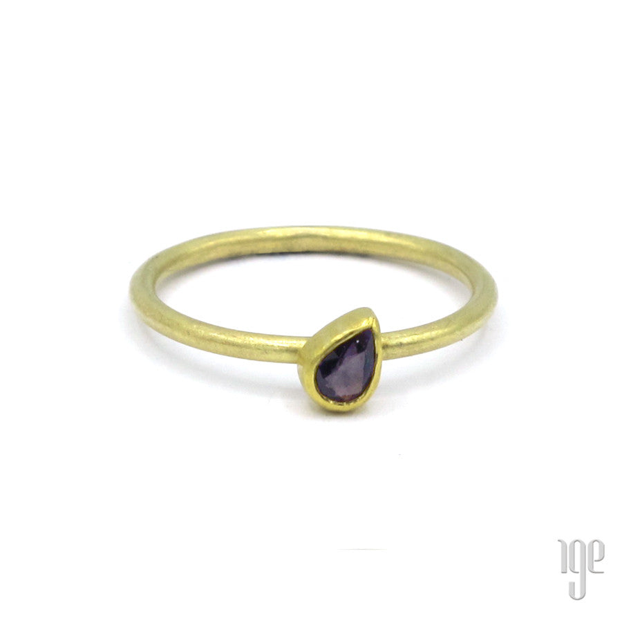 Petra Class Faceted Deep Violet Sapphire Ring