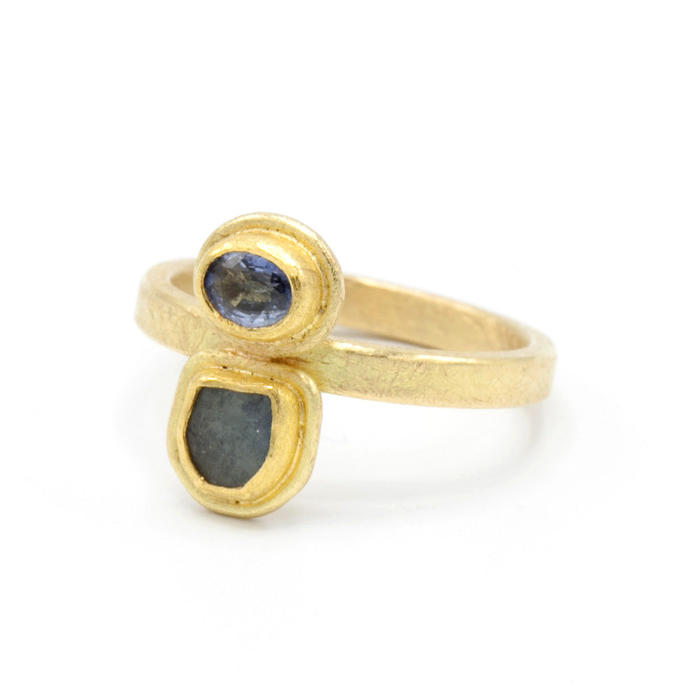 Petra Class | Double Stacked Framed Sapphire Ring | One of a kind