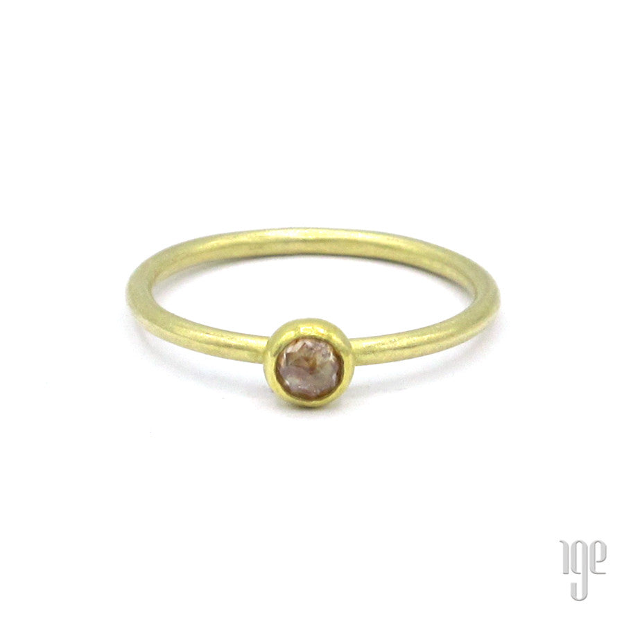 Petra Class Rose Cut Amber Diamond Dome Ring