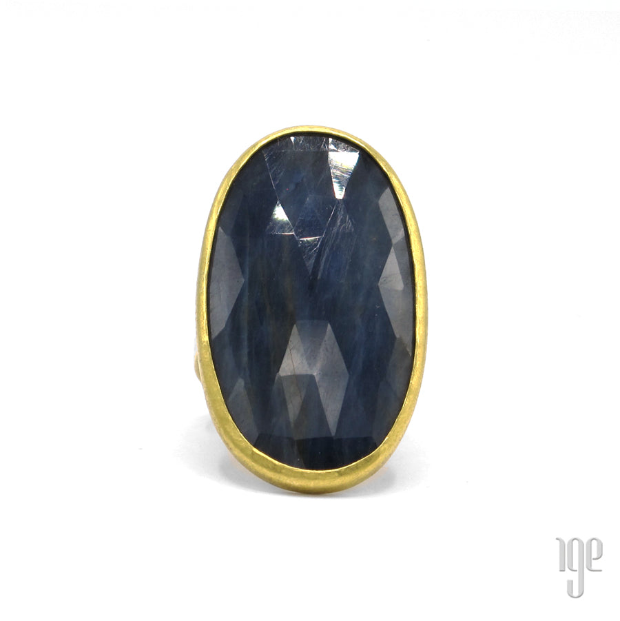 Petra Class Large Oval Faceted Sapphire Ring