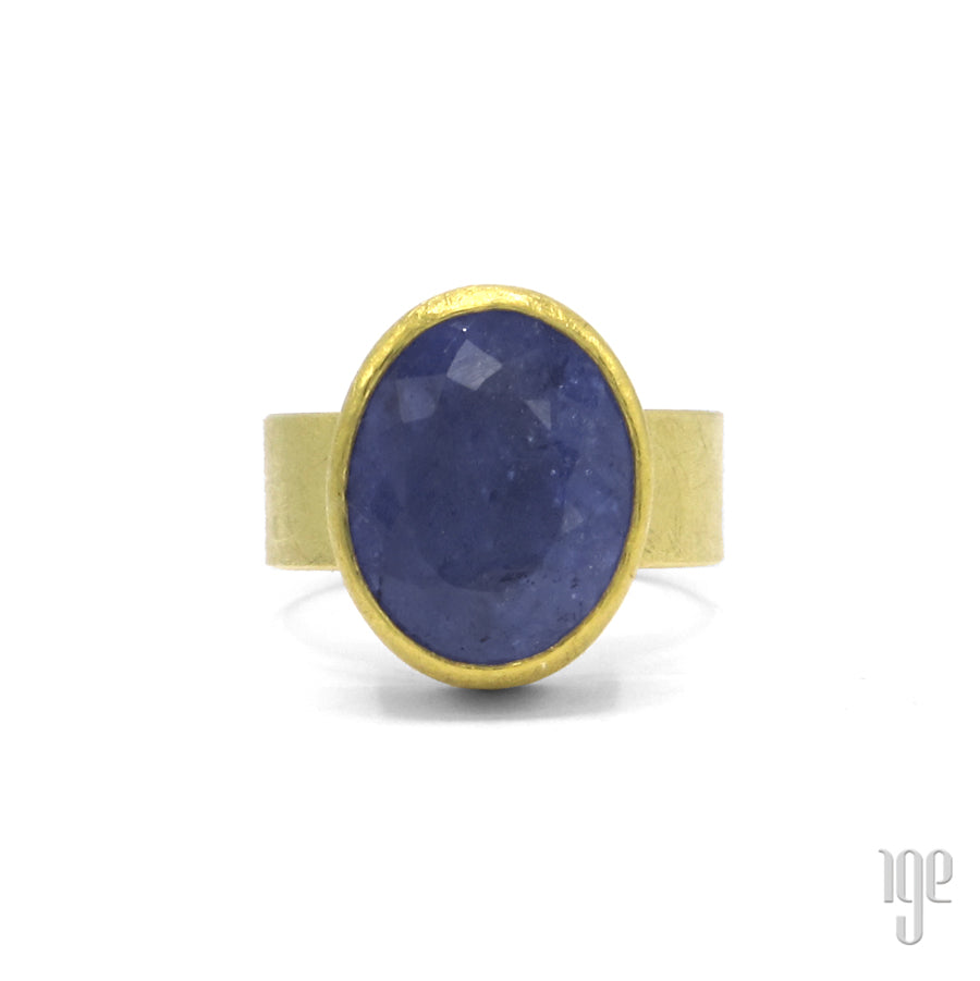 Petra Class Large Oval Faceted Lavender Tanzanite Ring