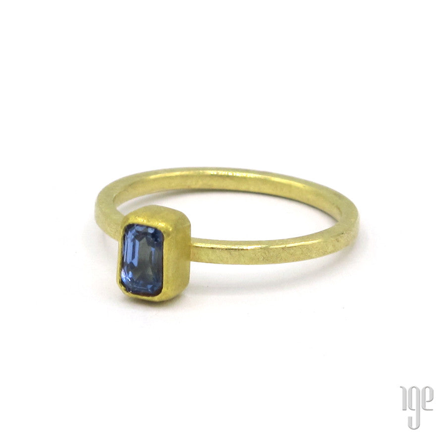 Petra Class Faceted Rectangular Sapphire Ring
