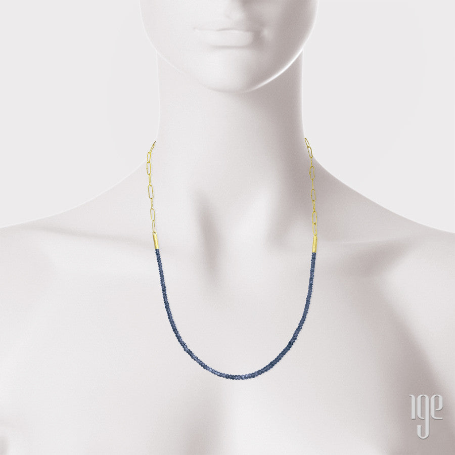 Petra Class Faceted Navy Sapphire Bead & Handmade Chain Necklace