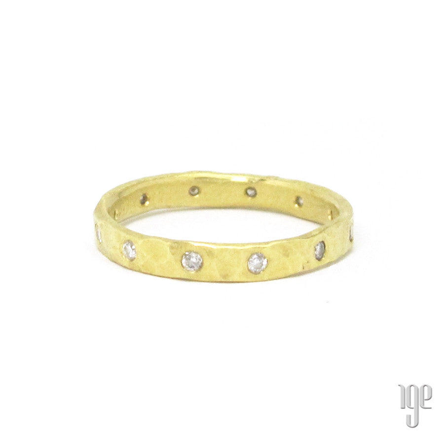 Petra Class Hammered Diamond Flush Set Ring