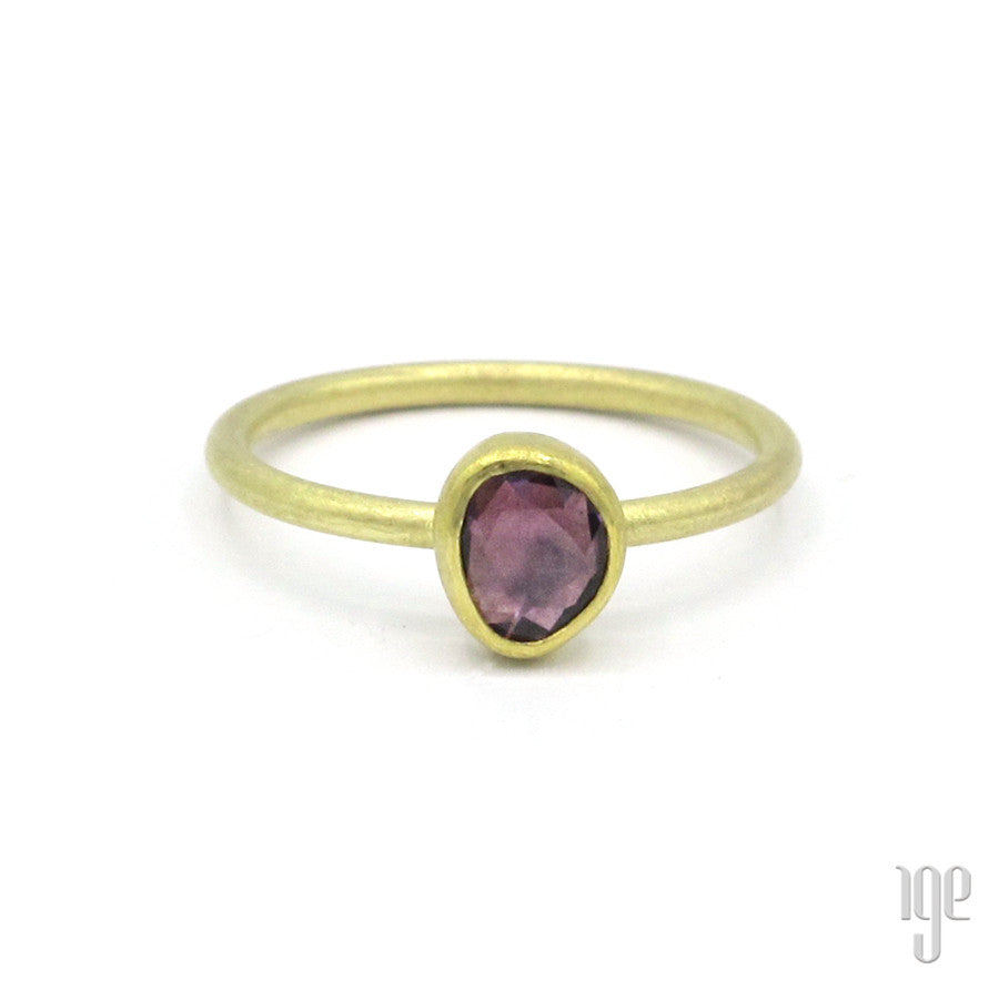 Petra Class Unique Purple Hue Sapphire Abstract Oval Ring