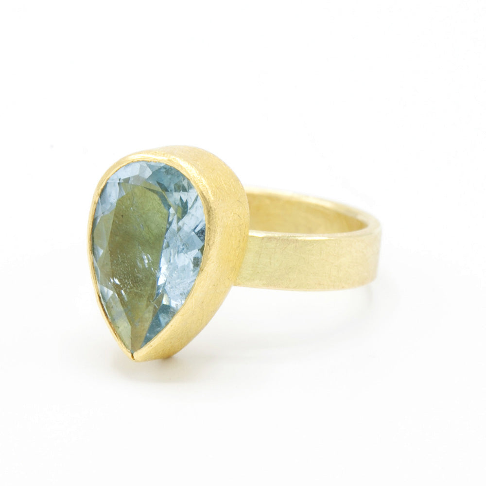 Petra Class | Large Drop Aquamarine Ring | One of a kind