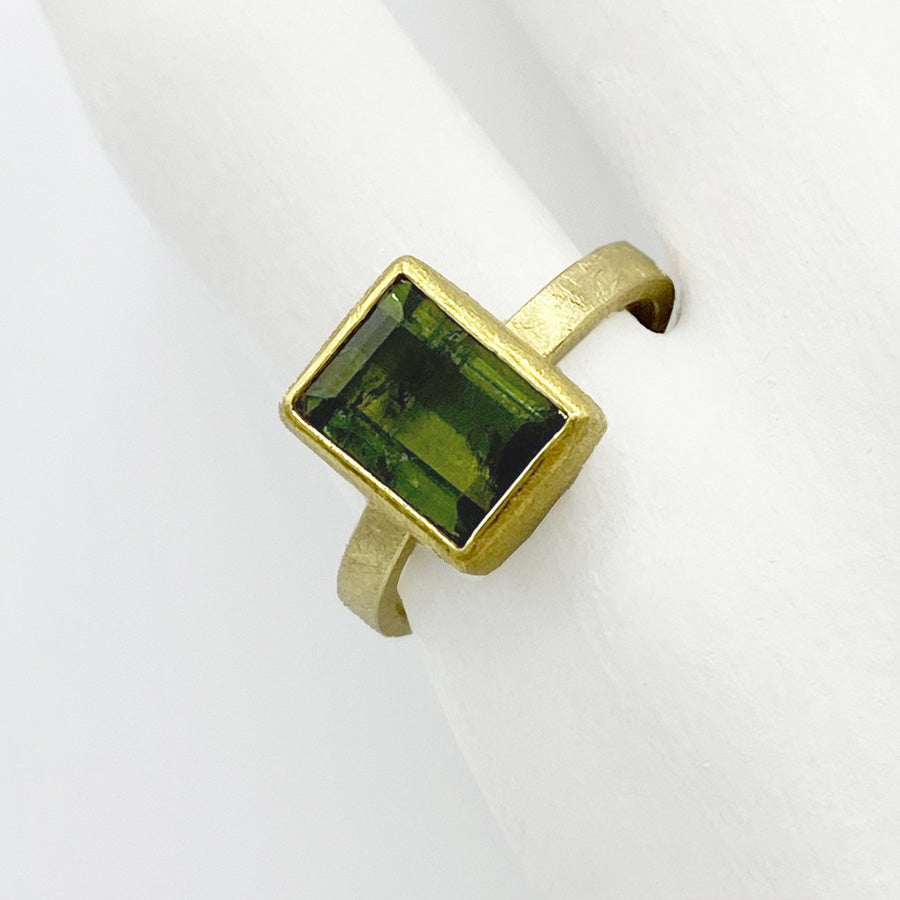 Petra Class | Large Rectangle Green Tourmaline Ring
