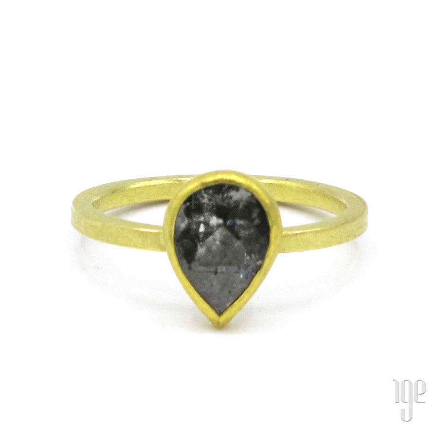 Petra Class Large Rose Cut Gray Diamond Drop Ring