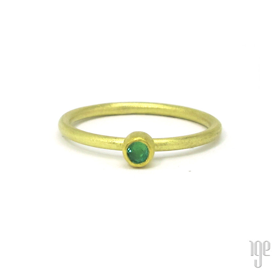 Petra Class Round Faceted Emerald Ring