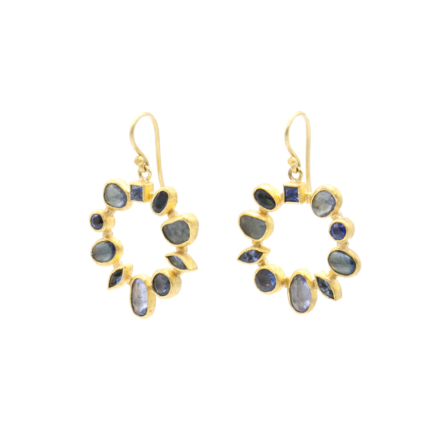 Petra Class Blue Sapphire Circle Earrings