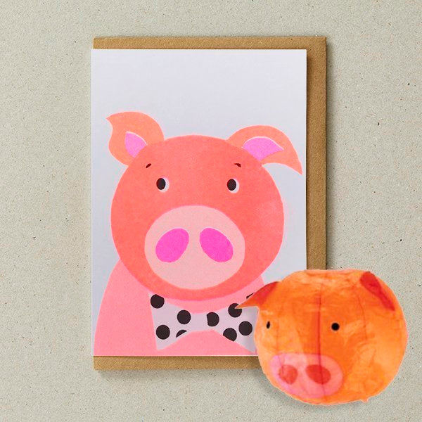 Japanese Paper Balloon Greeting Card | Pig