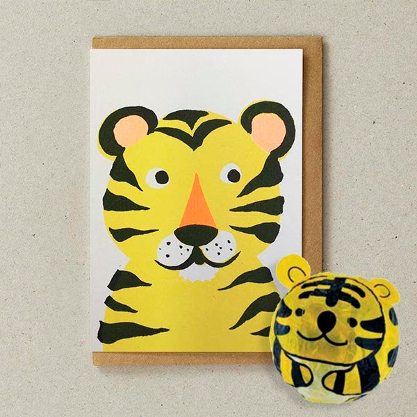 Japanese Paper Balloon Greeting Card | Tiger