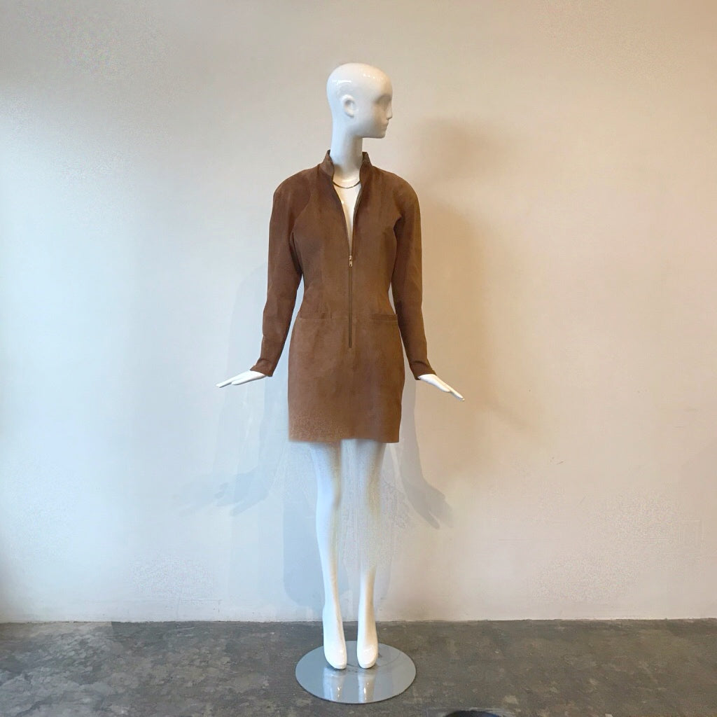 80's Pia Rucci Suede Zip Front Dress