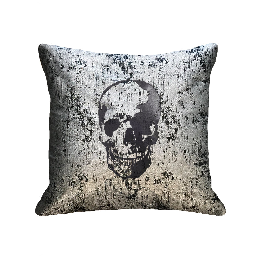 Skull Pillow - metallic black / black foil