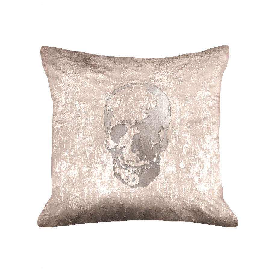 Skull Pillow - metallic pink / gunmetal foil