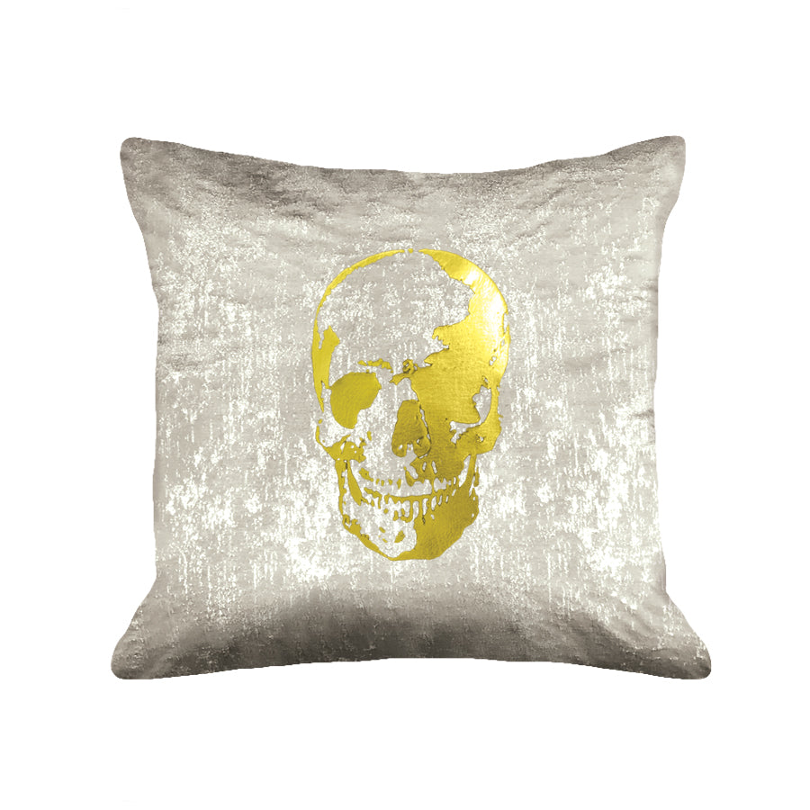 Skull Pillow - metallic taupe / gold foil