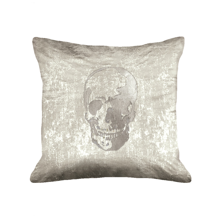 Skull Pillow - metallic taupe / gunmetal foil