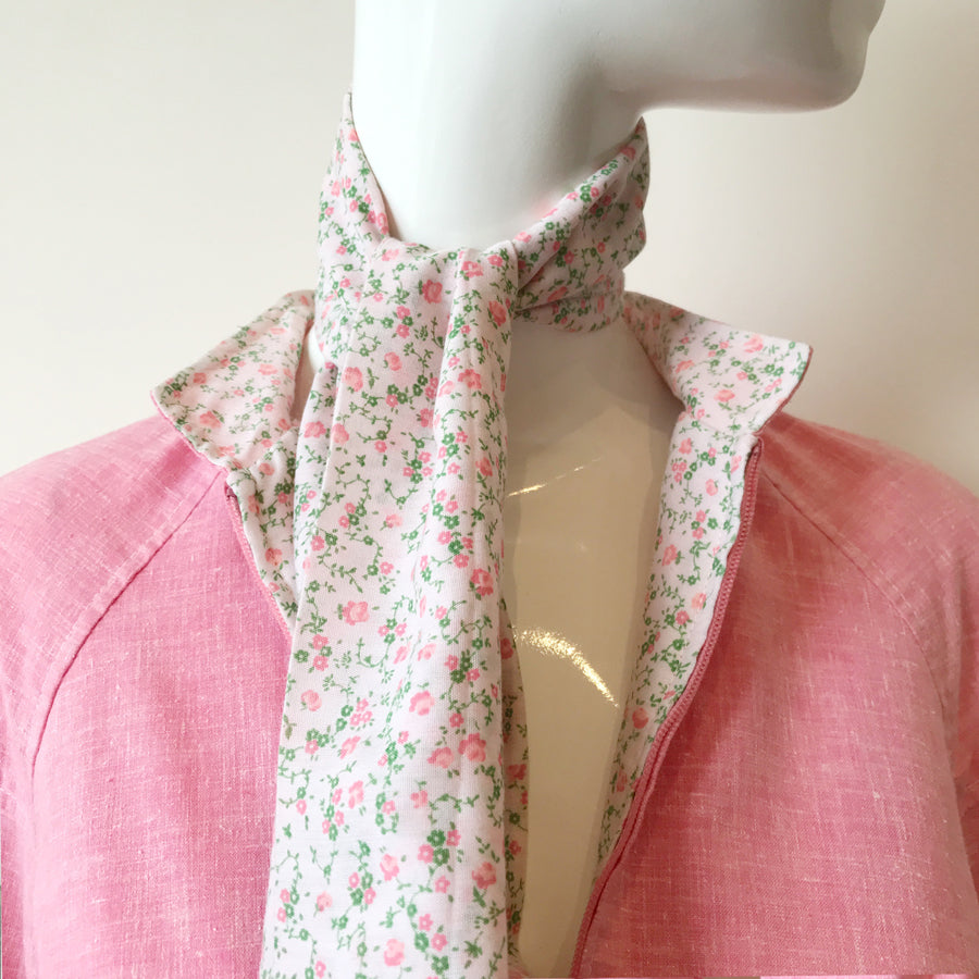 70s Pink Chambray & Floral Shirt Dress