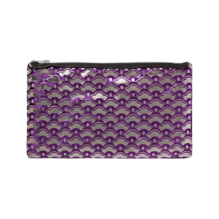 cherry blossom pouch - grape / gunmetal foil