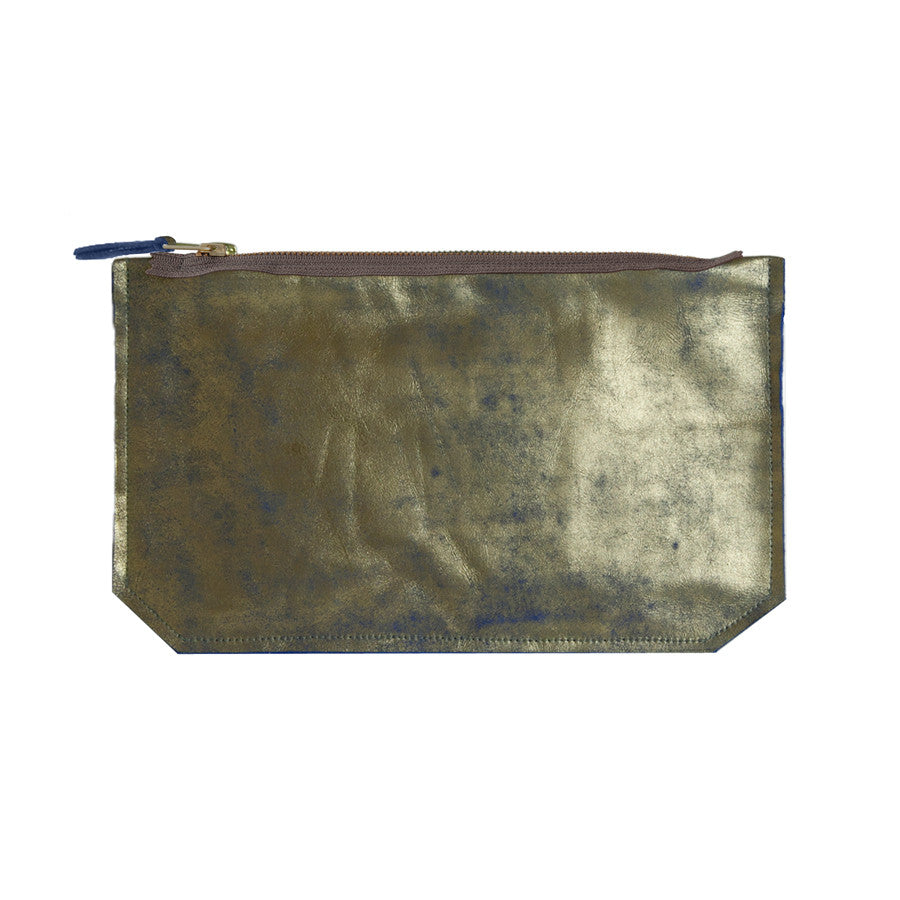 leather gilded print pouch