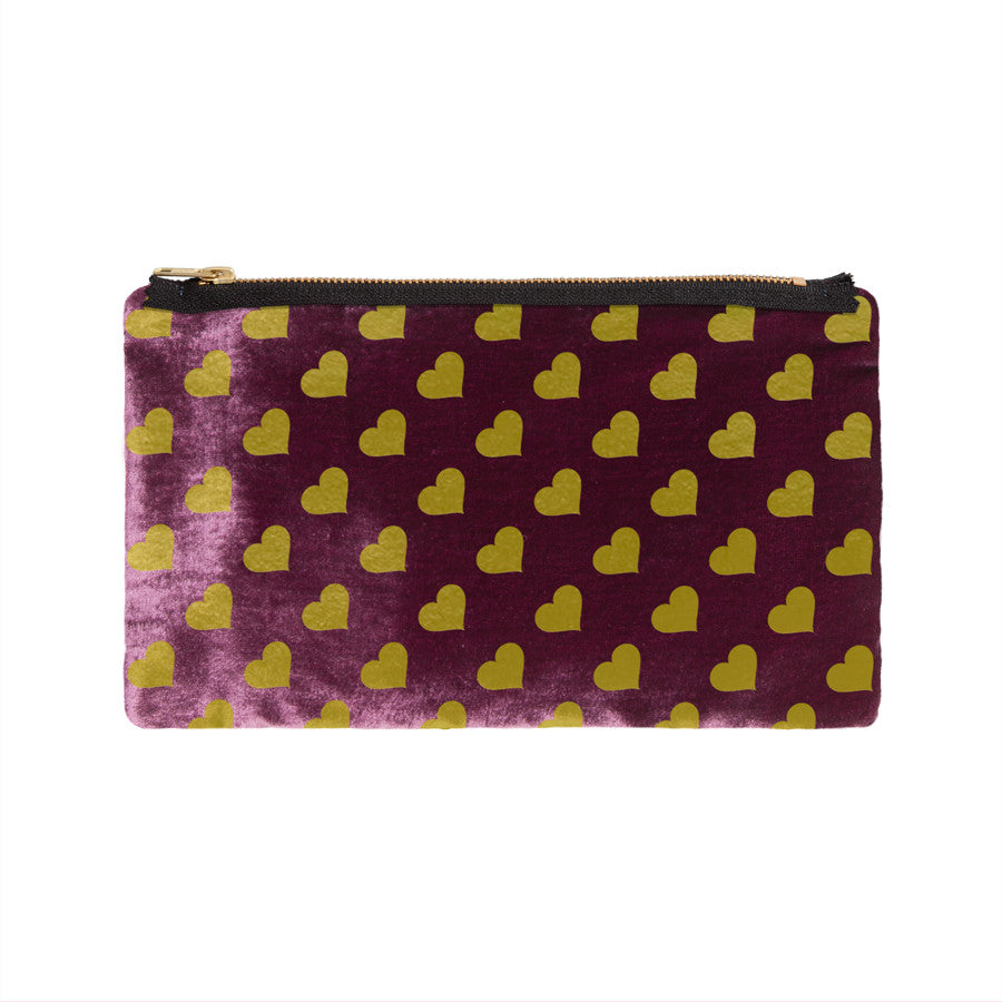 heart print pouch - berry / gold foil