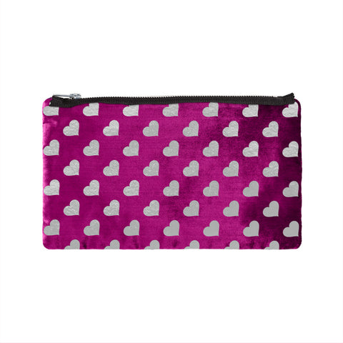 Leather Heart Print Pouch