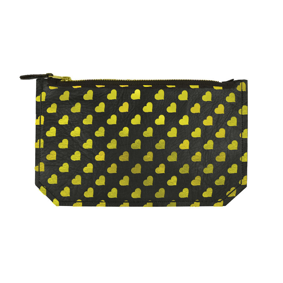 Leather Heart Print Pouch - black / gold foil