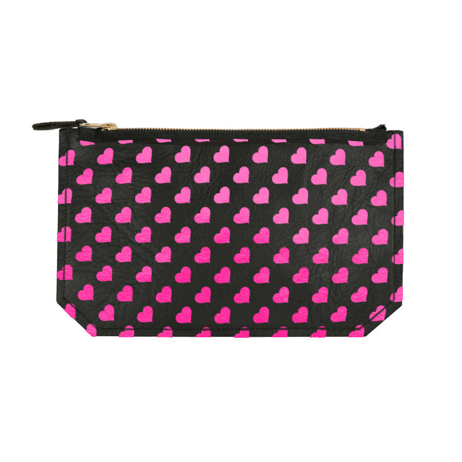 Leather Heart Print Pouch - black / hot pink foil