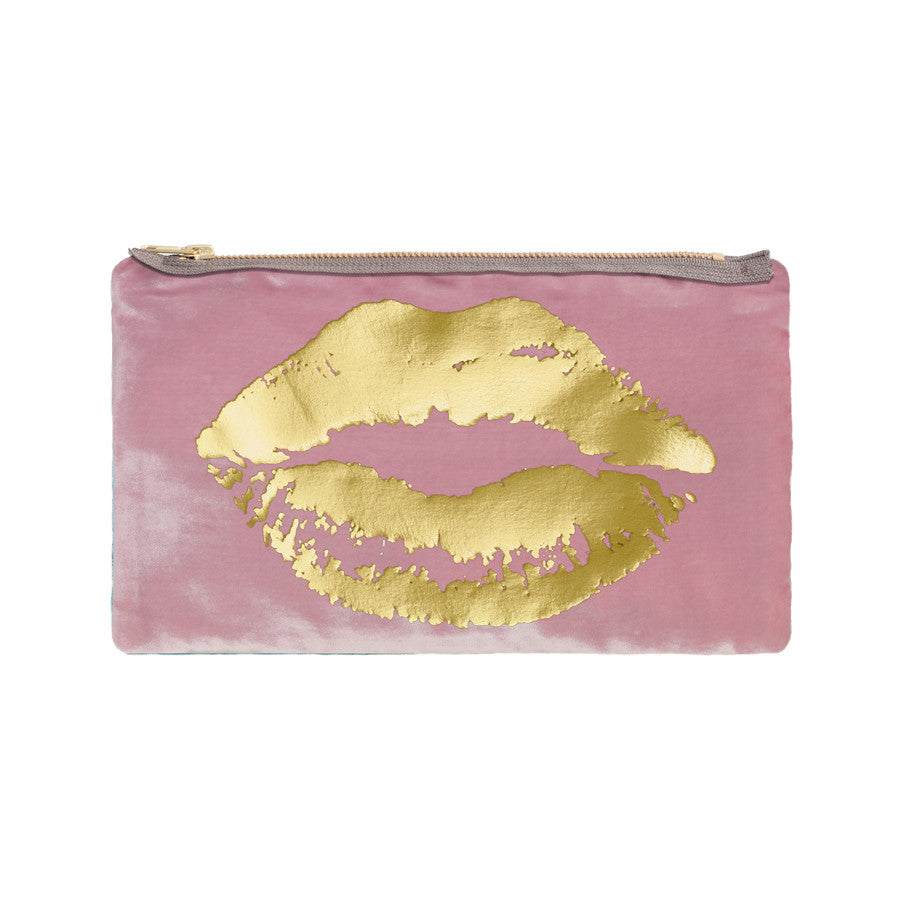 lips pouch - antique pink / gold foil