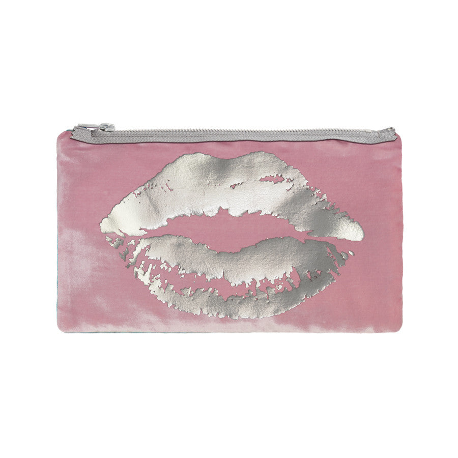 lips pouch - antique pink / gunmetal foil