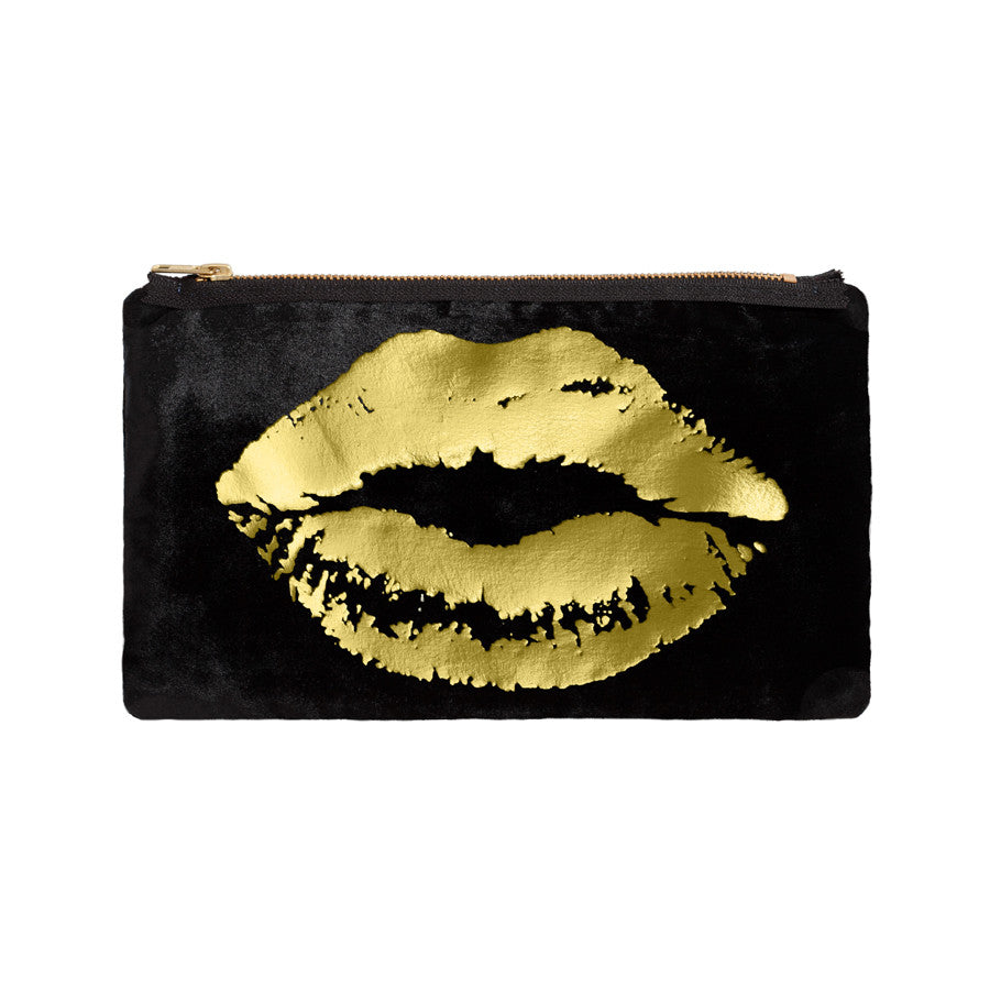 lips pouch - black / gold foil