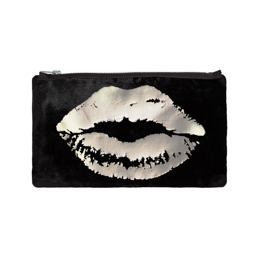 lips pouch - black / gunmetal foil
