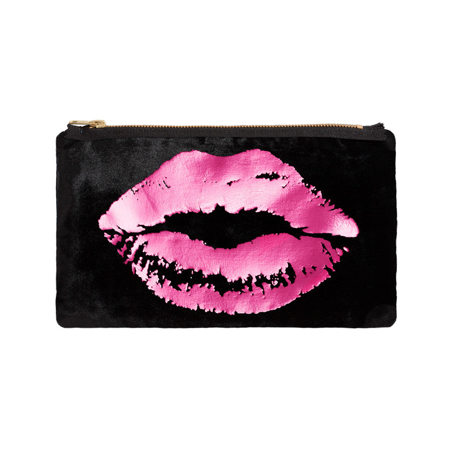 lips pouch - black / hot pink foil