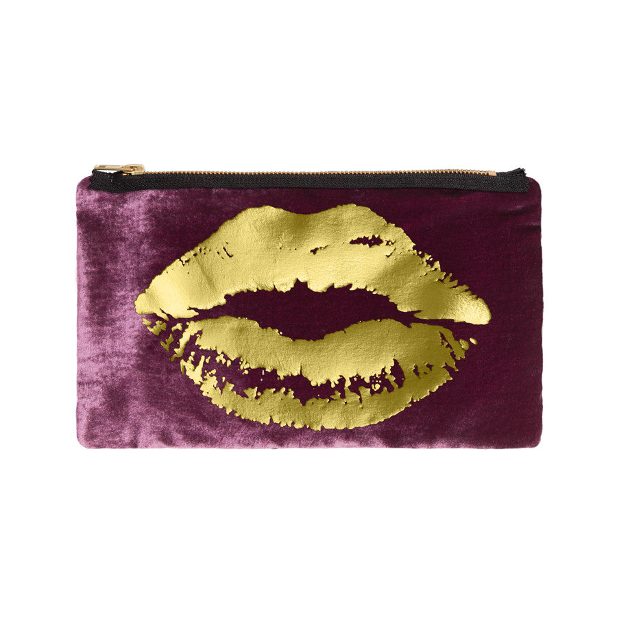 lips pouch - berry / gold foil