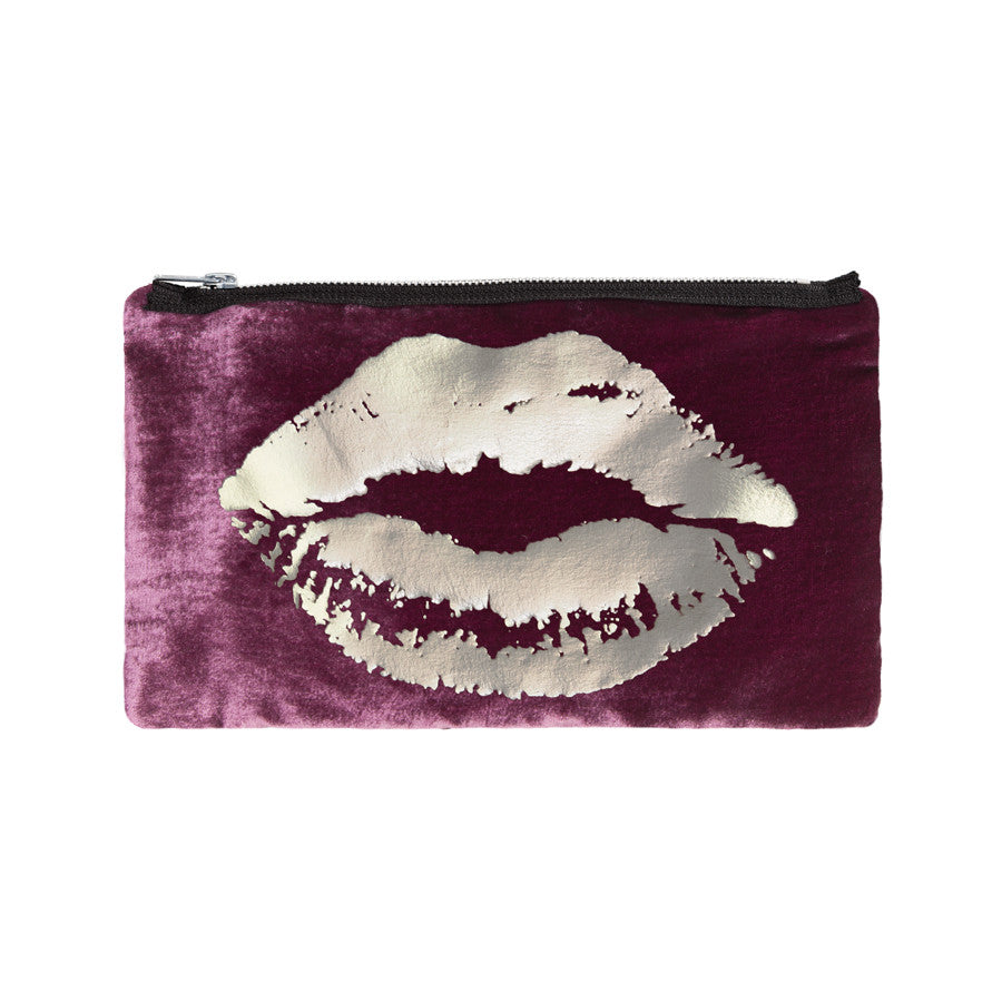 lips pouch - berry / gunmetal foil