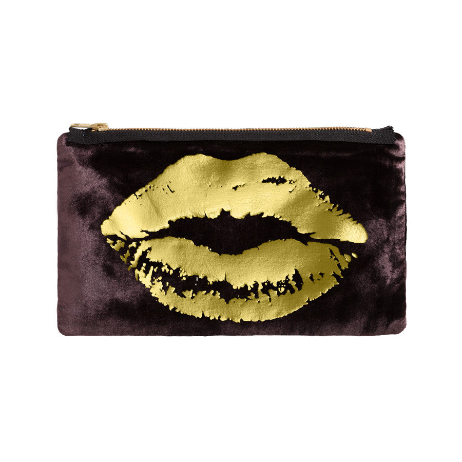lips pouch - chocolate / gold foil
