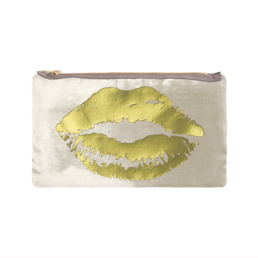 lips pouch - cream / gold foil